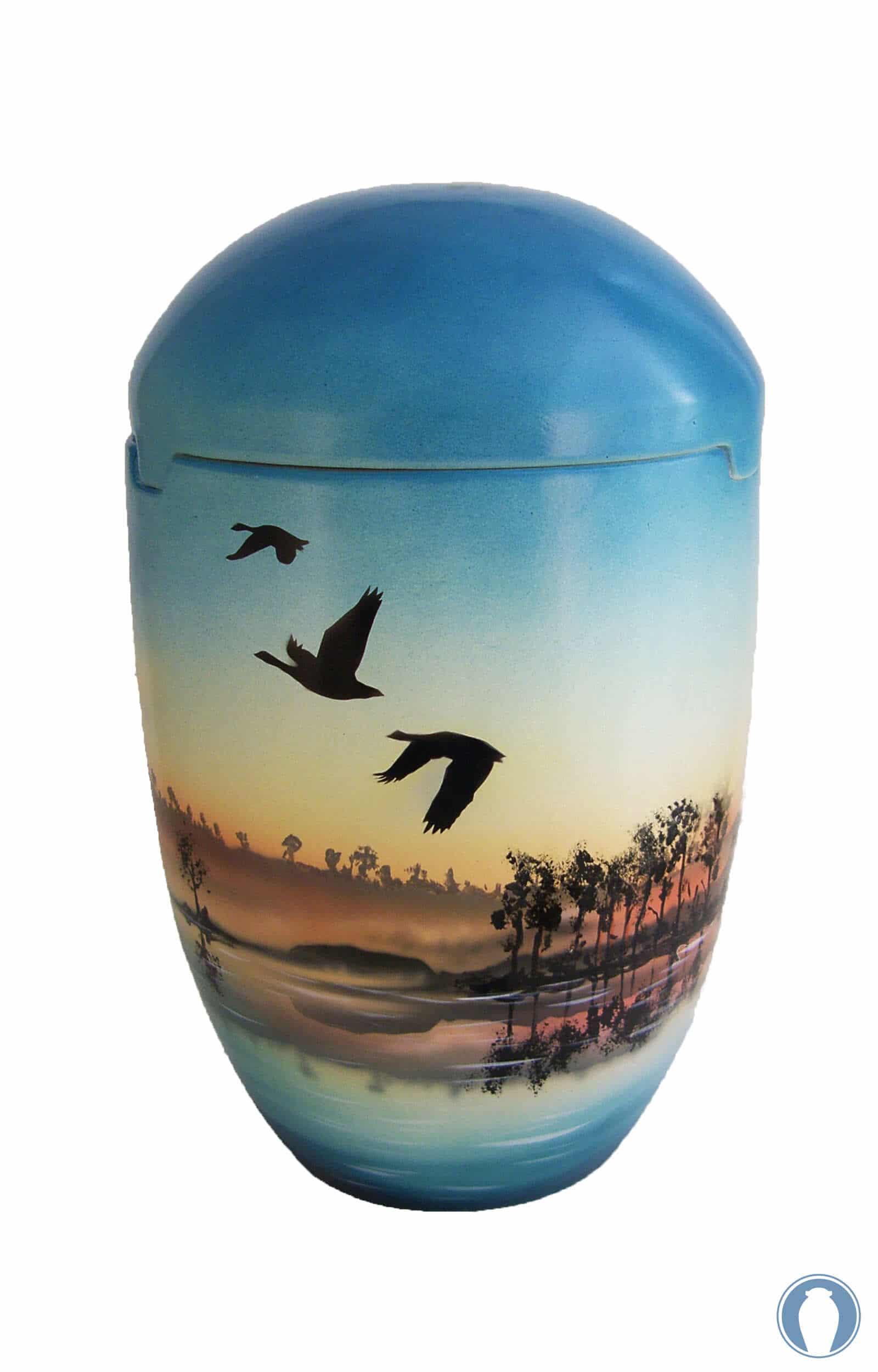 Seeurne himmelblau mit Sonnenaufgang und Vögel für seebestattungen