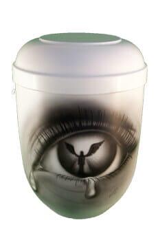 Bio Urne mit Airbrush Auge  und Engel