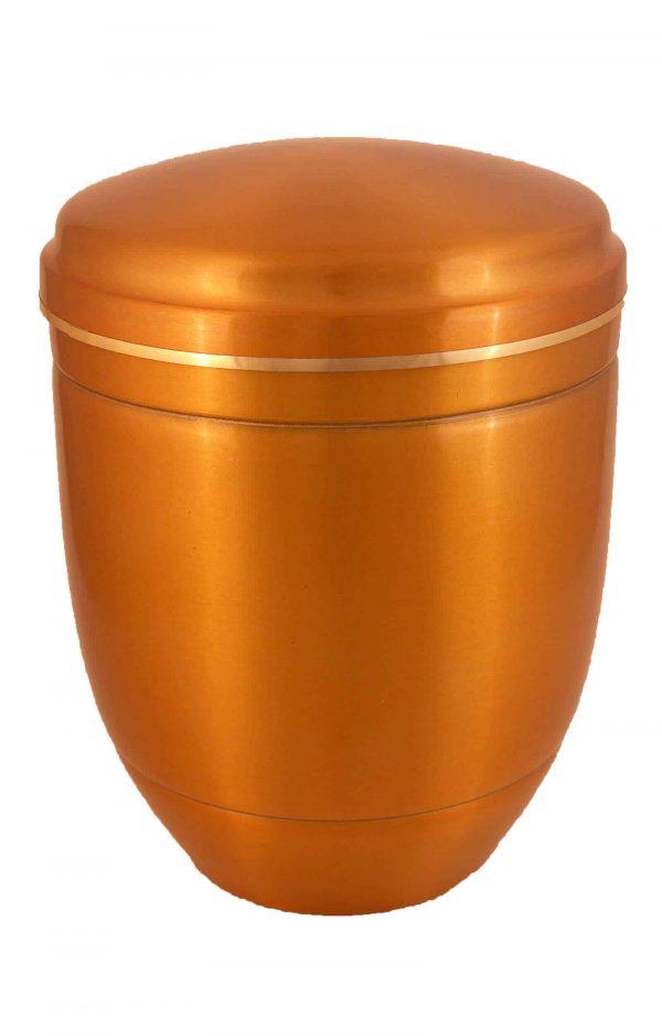 ✰ Urnen kaufen - Metall Urne - gold orange glänzend ♦ mit Goldband