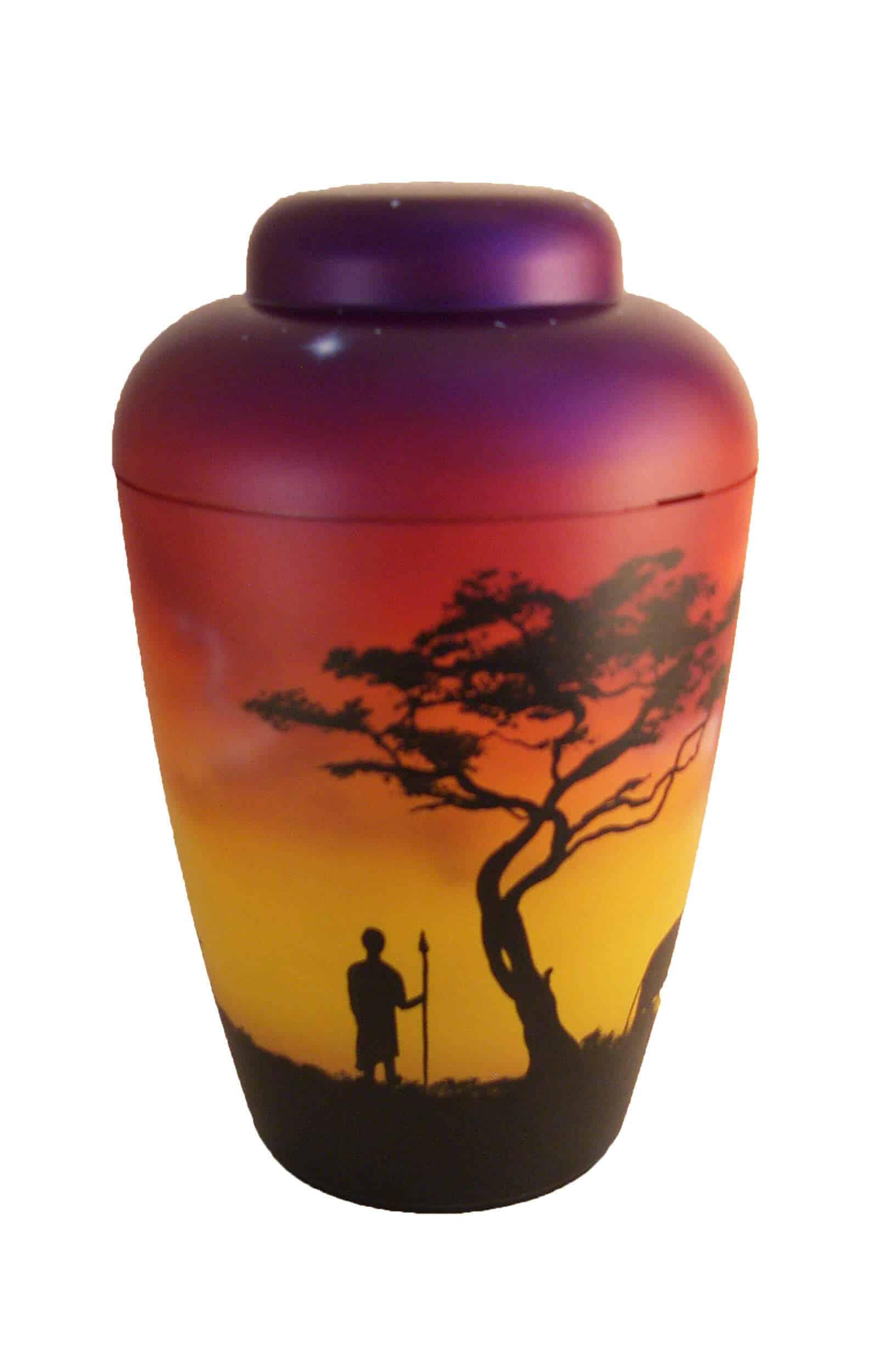 Bio Urne rot Airbrush Afrika Sonnenuntergang Elephant Einzelstück Urne privat kaufen