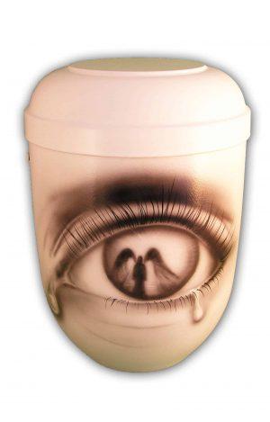 Bio Urne glänzend weiss Airbrush Auge und Engel Einzelstück - Bio Urnen kaufen