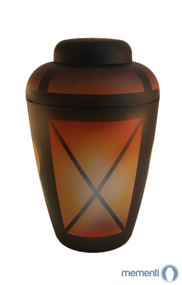† Airbrush Urnen kaufen orange schwarz gold mit Ornamenten ✔ Bio Urne 1/3