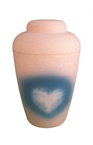 ❤ Bio Urne blau weiss mit Wolken & Herz der Liebe ✯ biologisch abbaubare Urnen kaufen ✓