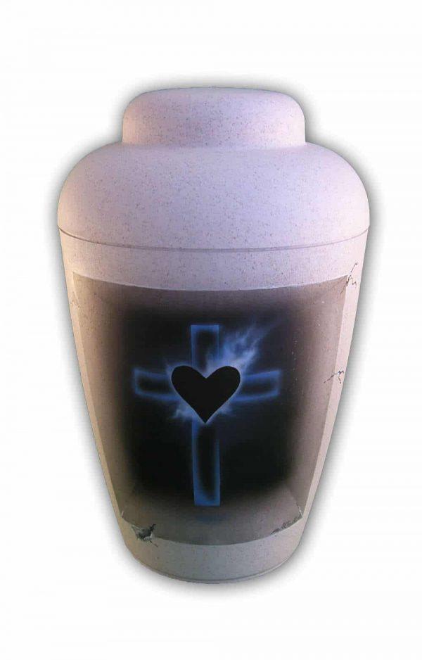 ✯ Bio Urne Airbrush Kreuz und Herz blau schwarz weiss Urnen kaufen ✔