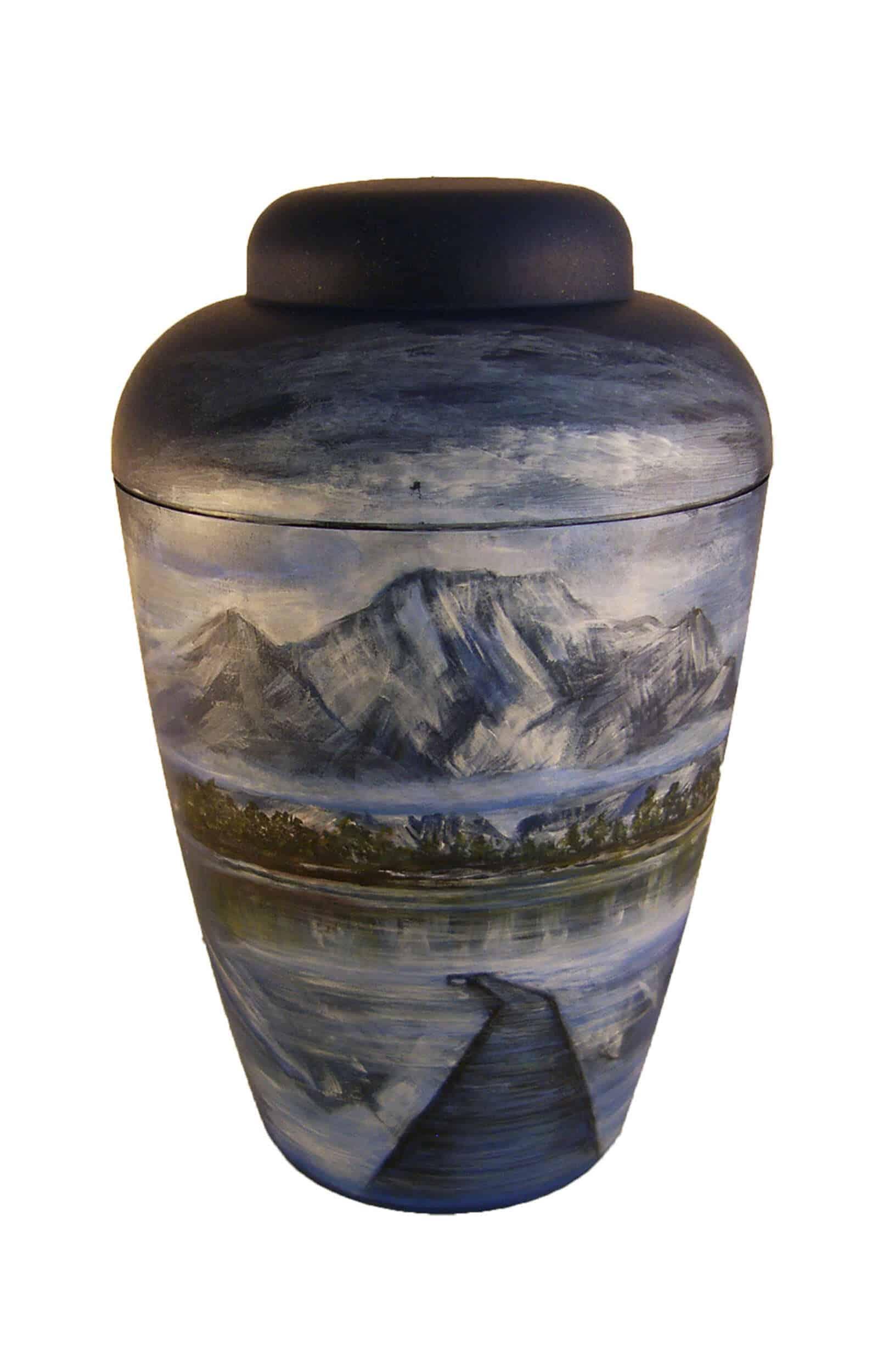 ❖ Künstler Urnen kaufen ✓ dunkel blau mit Berg am See und Brücke ✓ Bio Urne Urnen kaufen ➥