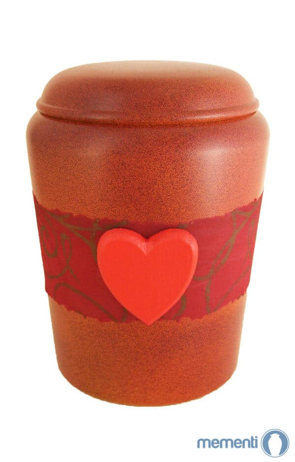 ♥ Bio Urne Herz ♥ rot mit Banderole von Nona Mela ♥ Urnen kaufen ➥