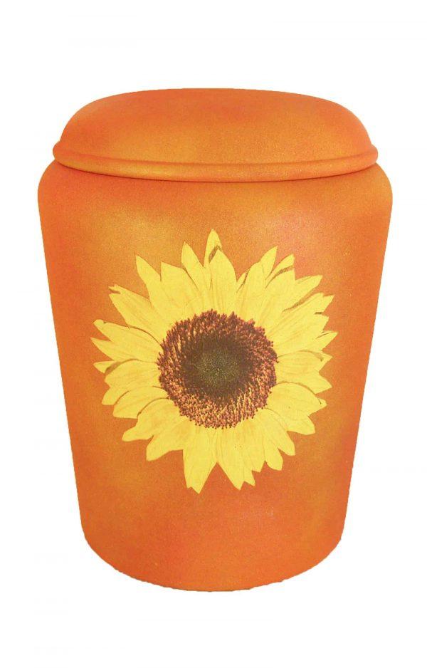 Bio Urne Sonnenblume ✔ gelb orange ✔ von Nona Mela ✔ Urnen kaufen ➥