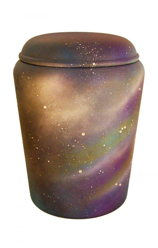 ✯ ✯ ✯ Bio Urne Universum ✯ ✯ ✯ himmelblau mit Schmucksteinen ✔ Urnen kaufen ⇒
