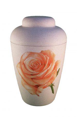 Bio Urne vale weiß mit Rose - urne kaufen