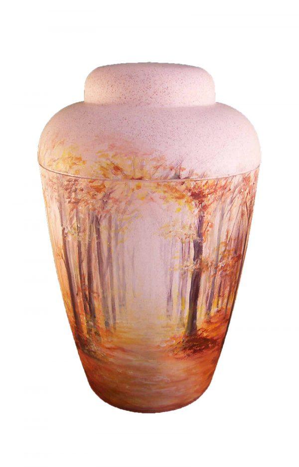 ♦ Künstler Urne mit lichtdurchflutetem Wald ✓ Bio Urne cremeweiß mit Herbst Motiv ✓ jetzt online Urnen kaufen ➥