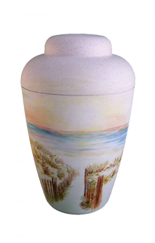 Bio Urne kaufen - weiße- mit Strand und Weg