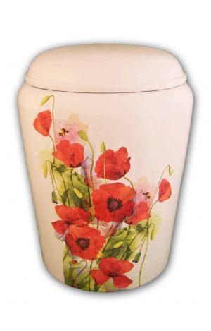 ჱܓ Mohnblumen Bio Urne ჱܓ Nona Mela weiss rot ჱܓ Urnen kaufen ➥