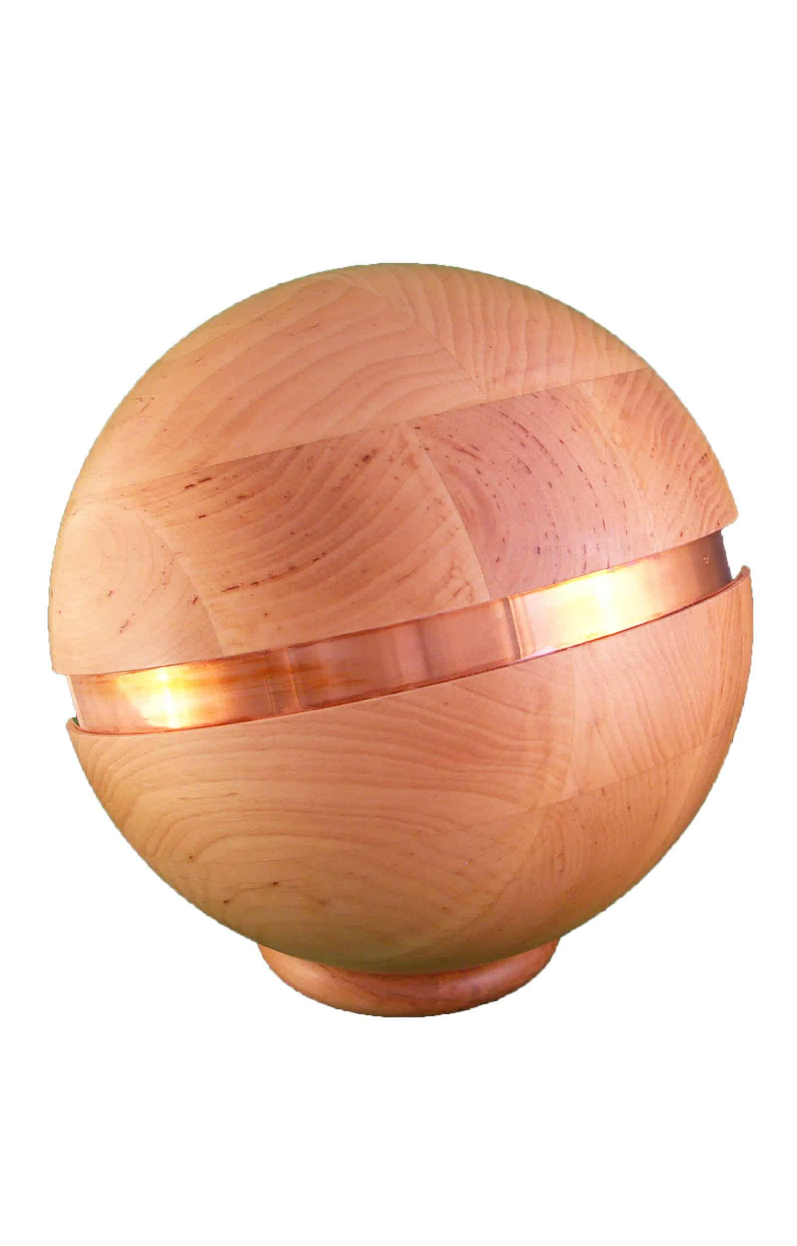 Urne aus Holz, holzurne mit metallband, Kugelförmige Urne