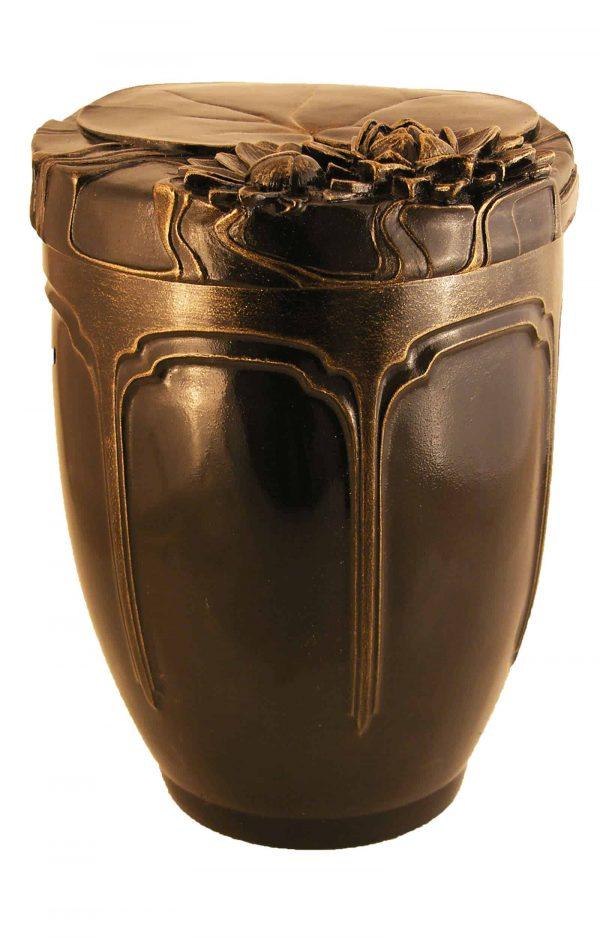 Keramik Urne Seerose braun gold schön kaufen
