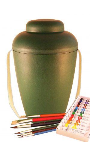 Bio Urne Malset vale grün - Urnen selbst bemalen -biourne