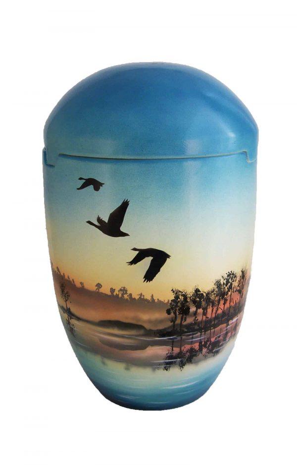 »*†*« Seeurne blau himmelblau Sonnenaufgang Vogel ✟ Bio Urnen Urne kaufen ✔