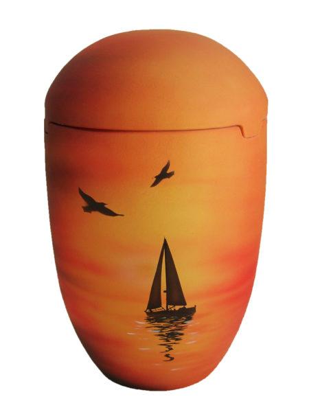 Seeurne Urne Sonnenuntergang Segelboot gelb rot orange See Urnen kaufen
