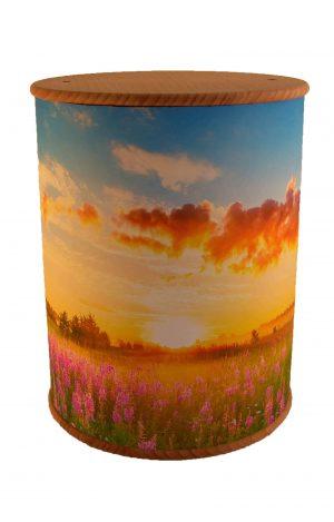 Schöne Biourne Zylinder rundum bedruckt Lavendel Feld Himmel- Urne kaufen Urnen günstig