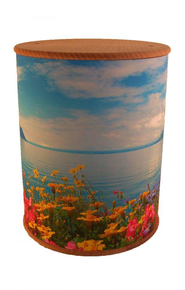 Schöne Biourne Zylinder rundum bedruckt Blumen See- Urne kaufen Urnen günstig