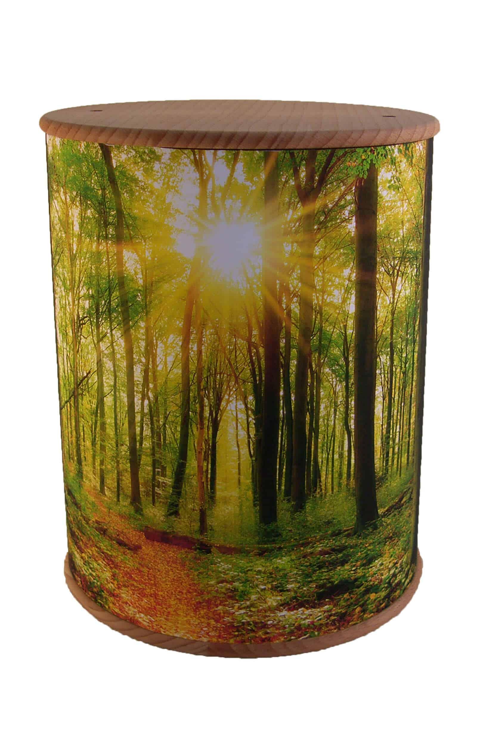 Schöne Biourne Zylinder rundum bedruckt Wald- Urne kaufen Urnen günstig