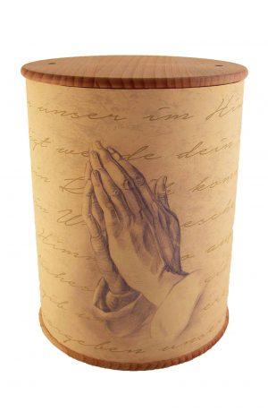 Schöne Biourne Zylinder rundum bedruckt betende Hände - Urne kaufen Urnen günstig