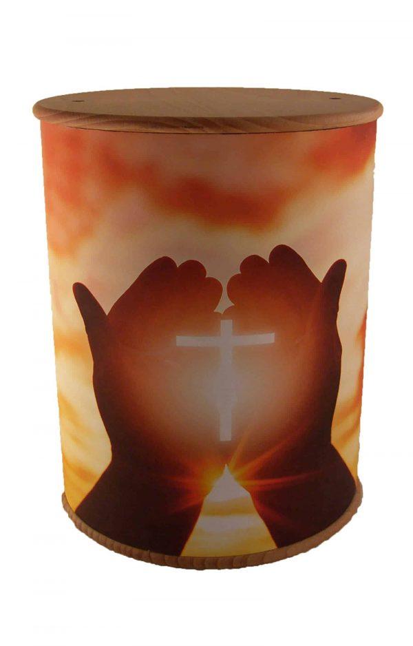 Schöne Biourne Zylinder rundum bedruckt Kreuz Hände - Urne kaufen Urnen günstig